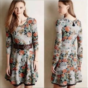 Anthropologie Terry Floral Fit & Flare Dress Small
